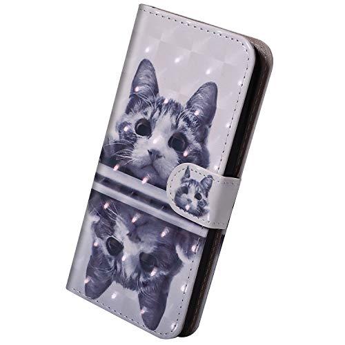 Herbests Kompatibel mit Huawei Mate 20 Lite Hülle Klapphülle Leder Tasche Flip Schutzhülle Wallet Handyhülle 3D Bunt Muster Bling Glitzer Brieftasche Handytasche Case,Schwarz Katze