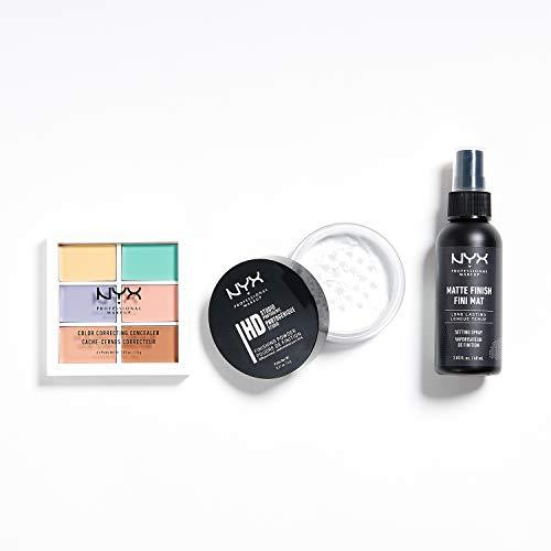 NYX Professional Makeup Coffret Bestsellers 3 Pièces, Palette Couleur et Correction, Poudre de Finition, Spray Fixateur