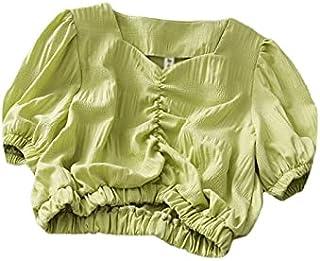 Wxcgbdx Womens T Shirts, White Shirt Women's Puff Sleeve Short Blouse Women's Tunic Top Chiffon Top Clothes Fashion (Color...