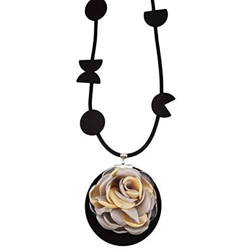Bluesteer Collar con Colgante de Flores, joyería de Goma para Mujer, Collares góticos Hechos a Mano, Accesorios para Fiestas y Bodas, gargantillas de Tela a Juego