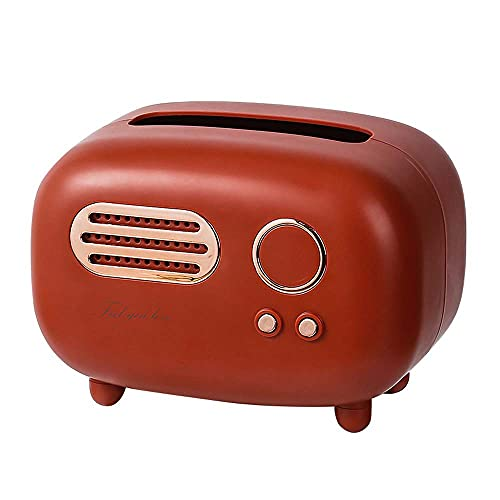 JUEXIN Caja de pañuelos Modelo de Radio Retro, Organizador de Caja de servilleta de Almacenamiento Vintage de Soporte de Papel de Escritorio(Red)