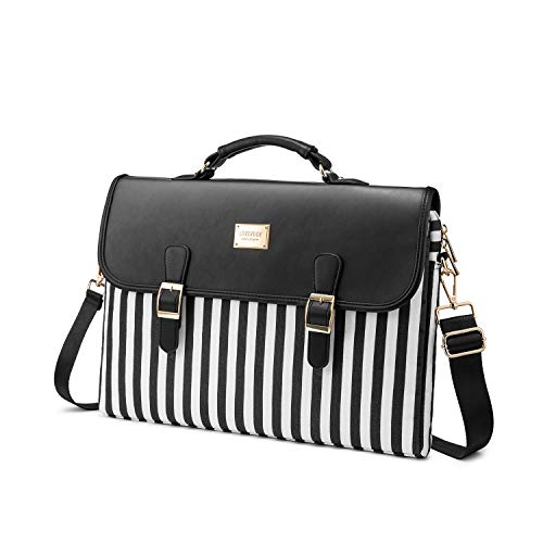 Computer Bag Laptop Bag for Women Cute Laptop Sleeve Case for Work College, Slim-Black, 15.6-Inch
