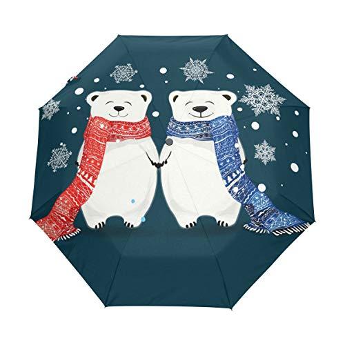 Orediy Paraguas plegable automático con dos osos polares, resistente al viento, compacto,...