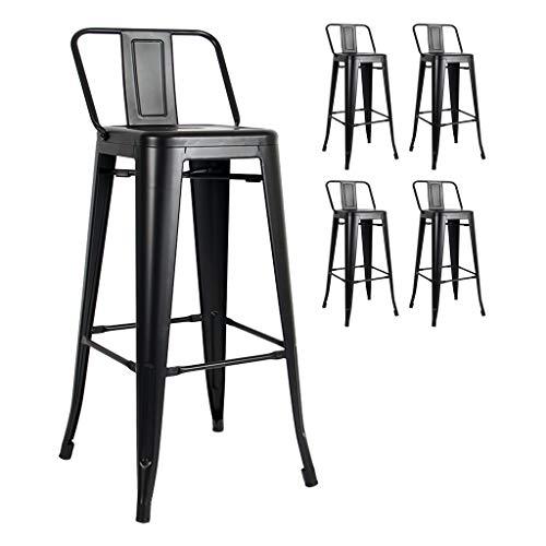 Kosmi - Lot de 4 tabourets de Bar en métal Noir Mat avec Petit Dossier, chaises de Bar Tabourets métal Hauteur 66cm Parfait pour Table de 90 cm, îlot Central ou Plan de Travail