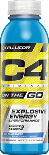 Cellucor C4 On The Go Zero Sugar Pre Workout Drink, Energy Drink + Beta Alanine, Icy Blue Razz, 10 Ounce Bottles (Pack of 12)