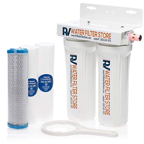 ESSENTIAL RV WATER FILTER SYSTEM - 1/2' PIPE Fittings (not hose fittings) - Premium RV Water Filtration System with Cyst Removal. Includes bracket for mounting inside RV.