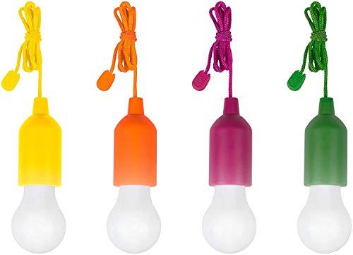 Ibello Lampadina LED da Campeggio Attiva dalla Corda Lampada Portabile Trasportabile Adattabile Luce Notturna Alimenta con Batterie Ideale per Campeggio Armado Garage (gialla,verde, arancione, viola)