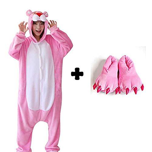 JIAWEIDAMAI Adultos Pijamas De Animales Conjuntos De Dibujos Animados Ropa De Dormir Cosplay Cremallera Mujeres Hombres Invierno Unisex Franela Panda Unicornio Pijamas con Zapatos