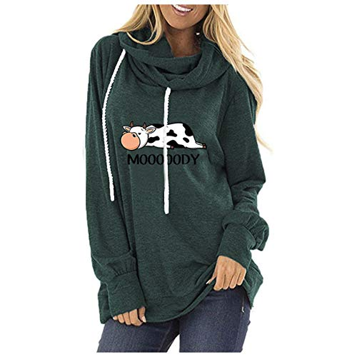 Womens Hooded Pullover Cute Animal Cow Graphic Hoodie with Drawstring Long Sleeve Cowl Neck Print Tunic Tops Hoody Casual Loose Sweatshirt Blouse Letter T-Shirt for Teen Girls Green