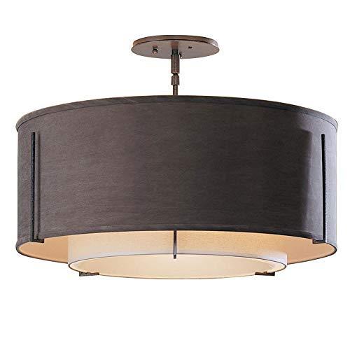 Z-GJM slaapkamer plafondlamp schaduw, moderne ronde Double Black Fabric Drum lampenkap ijzer inbouw plafondlamp lamp lamp voor woonkamer keuken E27 (geen lamp inbegrepen), 60 cm 60cm