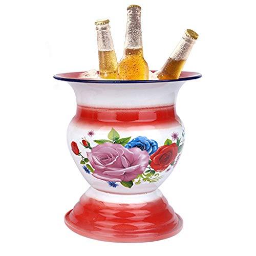 Esmalte Spittoon 1960s chino antiguo cocina y mesa decoración esmalte cuenco, champán/fruta/vegetal/exhibición (color burdeos)