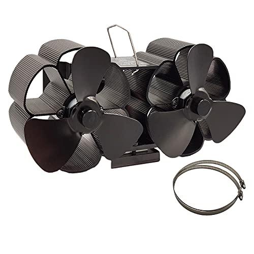 MERIGLARE Ventilador de Estufa de Leña de Doble Cabezal 6 Aspas Ventilador de Leña/Quemador de Leña Ventilador de Chimenea