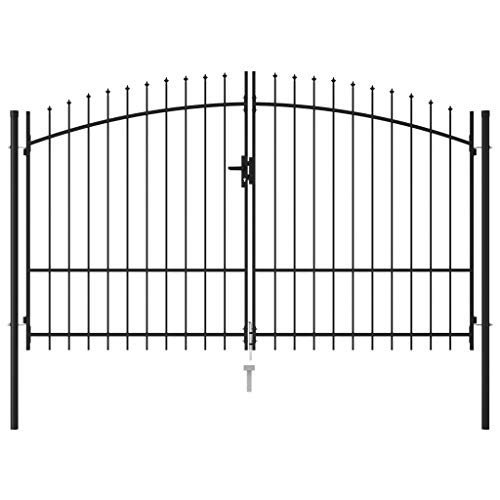 vidaXL Fence Gate Double Door with Spike Top Steel, Decorative Garden Fence Outdoor,Metal Fence Panels, Animal Barrier, Patio Flower Bed Border Wire Fencing Rustproof, 9.8'x6.6' Black