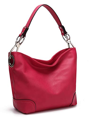 Mia K Collection Hobo Bag for Women - PU Leather Handbag - Womens Shoulder Bag Top Handle Fashion Pocketbook Purse Fuschia