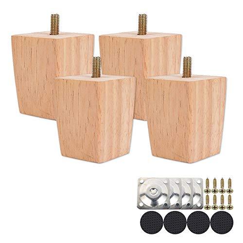 4 piedini di ricambio per mobili in legno di quercia per sedie e divani, con viti e feltrini (60 mm)