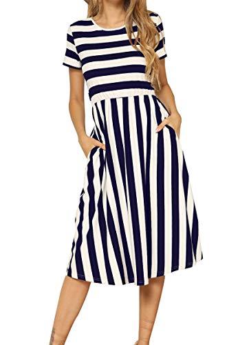 levaca Women's Short Sleeve Striped Swing Pockets Casual Work Midi Dress Deepblue XL
