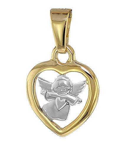 trendor Herz-Anhänger mit Engel Gold 585 Bicolor liebevoller Goldanhänger für Mädchen oder Jungen, Engelanhänger für Kids, toller Goldschmuck 08855