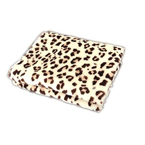 FISH4 Haustiere Hundedecke Welpe Schlafmatte Hundebetten für kleine Hunde Winter Badetuch Double Velvet Warme weiche Decke für Hunde und Katzen, Leopard, S.