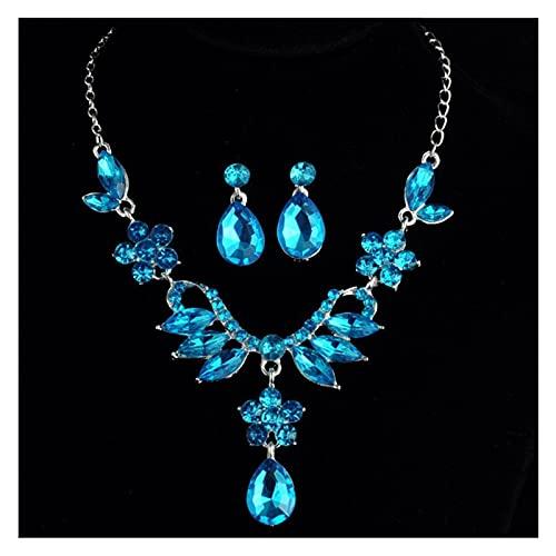 ZCPCS Juego de 2 Piezas Vintage Blue Flowers Deja Collar Mujer Pendientes de Cristal de Drop Pendientes Pendientes de Lujo Pendientes de Joyería Cadena de Joyería Regalos (Metal Color : Blue)