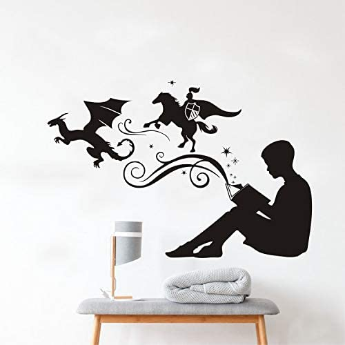 JURUOXIN Boy Reading Magic Books Wall Decal Art Vinyl Sticker for Kids Study Room Decoration product image