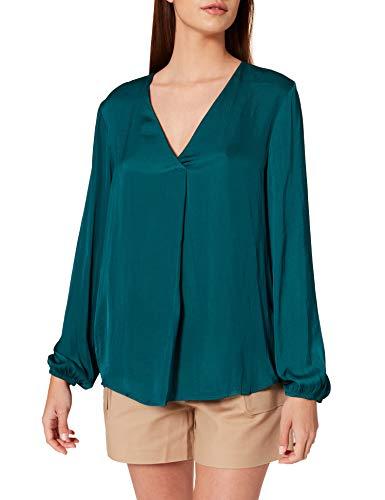 Springfield Blusa Fluida Pliegue Escote Camisa, Verde, 42 para Mujer
