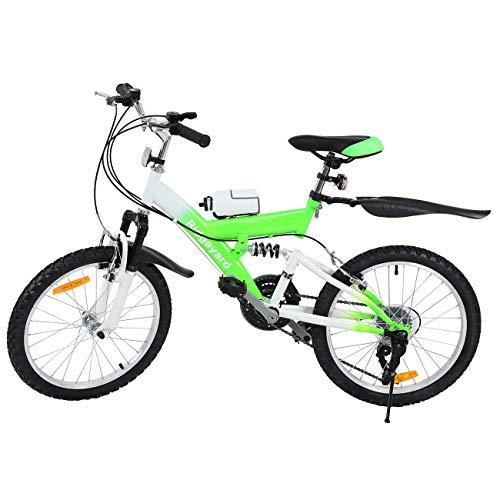 MuGuang Bicicleta de Montaña 20 Pulgadas Bicicleta Infantil 21 Speed Come with 500cc Kettle para Niños de 7 a 12 Años(Verde)