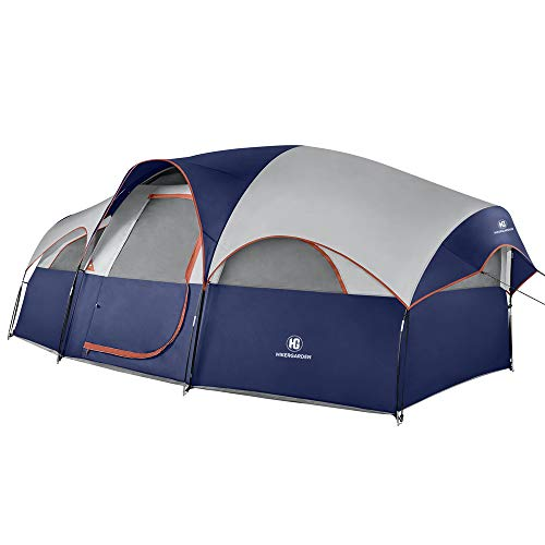 TOMOUNT 8-Person Tent - Easy & Quick Setup Camping Tent, Professional Waterproof & Windproof Fabric, Double Layer, 5 Large Mesh for Ventilation, Lightweight & Portable with Carry Bag, Blue