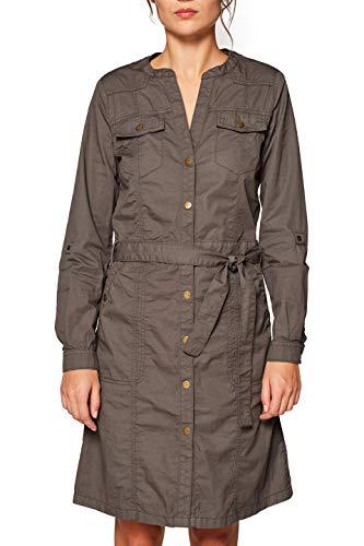 edc by ESPRIT Damen 039CC1E008 Kleid, Grün (Khaki Green 350), (Herstellergröße: 38)