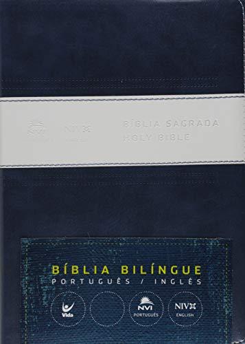 Bíblia Nvi Português Inglês - Cp Azul E Branco