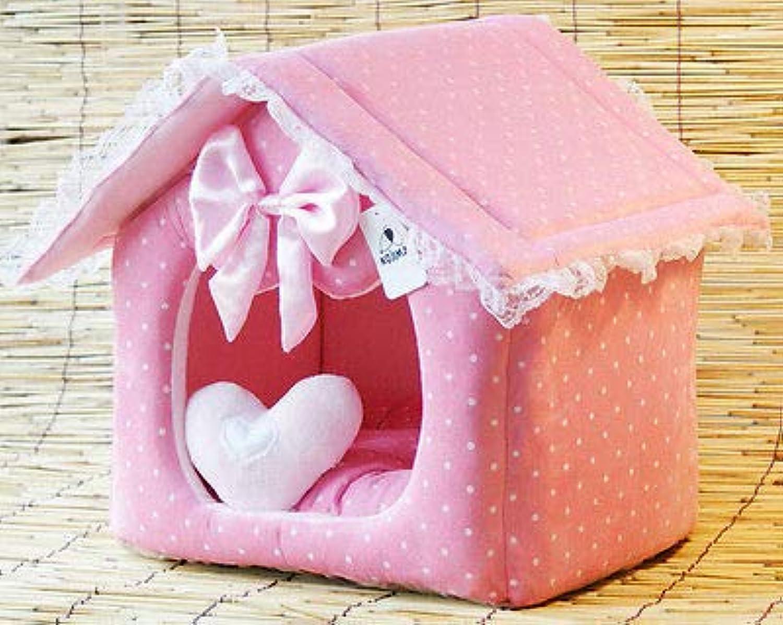 FidgetGear New Pet Dog Pink Princess Dots Lace House Bed Puppy Cat Cotton Kennel House L