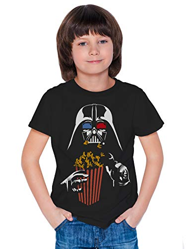 THREADCURRY Popcorn Stars | Sci Fi Movie Time Spoof Comic Funny Graphic Printed Tshirt for Boys Black 10-11 Years