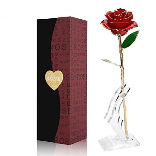 ENJOYPRO Gold Rose, 24k Golden Plated Red Rose, Real Everlasting Gilded Rose Flower Bouquet for Valentines Day, Wedding