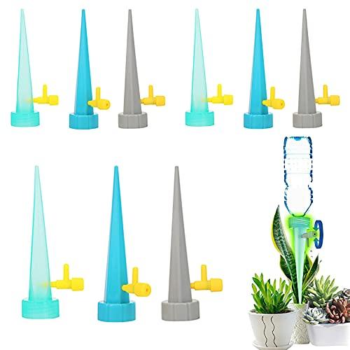 BLBK Pinchos autoriego para plantas de jardín, sistema de riego por goteo, riego automático universal con interruptor de válvula de control lenta, 12 unidades