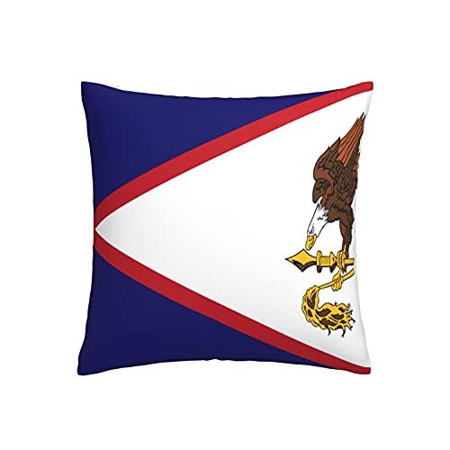 Kissenbezug mit Flagge von Amerikanischem Samoa, quadratisch, dekorativer Kissenbezug für Sofa, Couch, Zuhause, Schlafzimmer, für drinnen & draußen, niedlicher Kissenbezug 45,7 x 45,7 cm