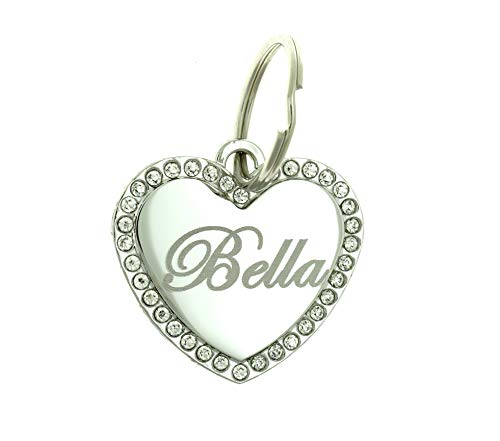 Custom Engraved Personalized Stainless Steel Medium Heart Rhinestones Pet Jewelry Cat Dog ID Tag