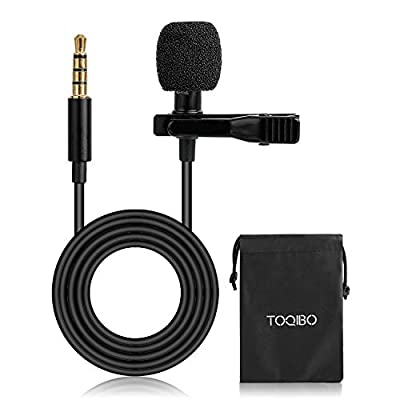 Clip on Microphone TOQIBO 3.5mm Lavalier Lapel Omnidirectional Condenser Microphone with 360°High Sensitivity Condenser Support for Smartphone, PC, Computer and Camera