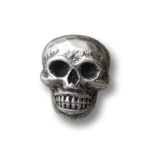 Knopfparadies (1406as) 5er Set Gruselige Metallknöpfe mit Horror-Motiv: Totenkopf. Perfekt für Horror-Fans für Kostüme an Fasching, Halloween etc. Größe: ca. 15x18mm!