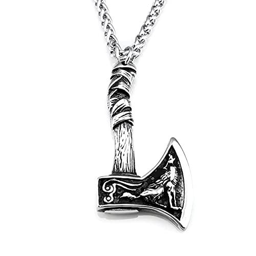 URBANTIMBER Wikinger Halskette Odin\'s Axt mit Fenris Wolf, Hugin & Munin und keltischen Knoten - Silber oder Bronze/Gold (Grey)