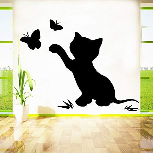 Tianpengyuanshuai Exquisite Katze Vinyl Selbstklebende Tapete für Kinderzimmer Aufkleber 45x46cm