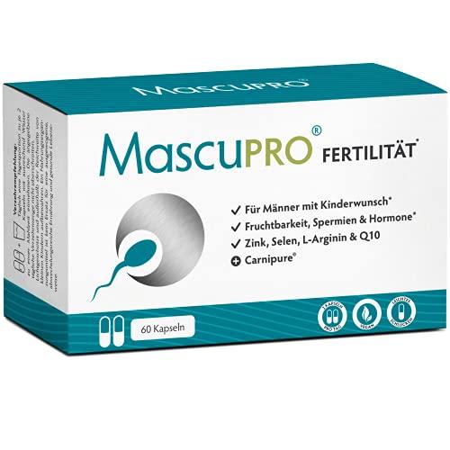 MASCUPRO® Fertilität Mann - Fruchtbarkeit - Spermienproduktion + 60 Kapseln + Q10 - L-Carnitin, L- Arginin + Vitamine Mann Kinderwunsch