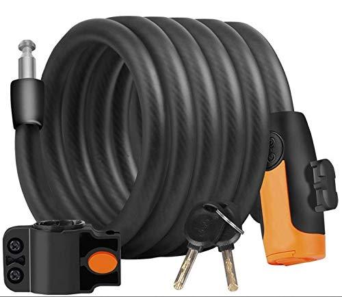 Accesorios para bicicletas Bloqueo de la bici con el montaje soporte de bloqueo de cable de 6 pies de largo en espiral de Seguridad reajustable combinación de bloqueo for bicicletas Aire libre 1.8M