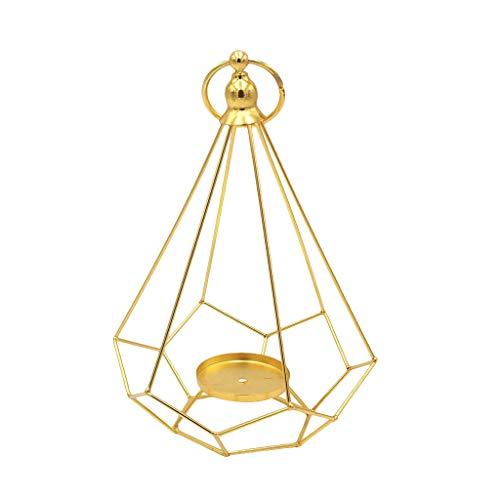 FiedFikt Portavelas de aleación con forma de diamante geométrico enmarcado en forma de candelabro de cobre con forma de pirámide geométrica (B)