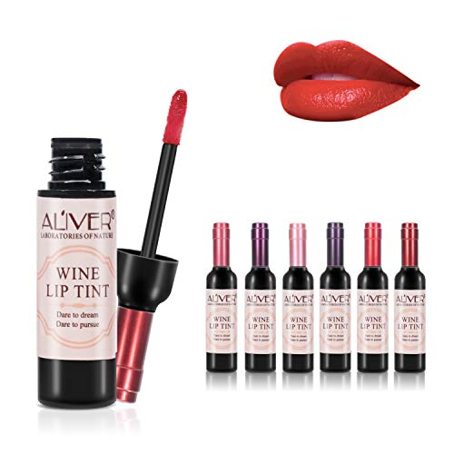 6 Farben Wein Flüssiger Lippenstift, Lady Long Lasting Make Up Matte Lipgloss, Wasserdicht, Glanz,...