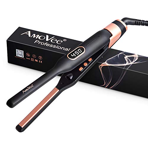 AmoVee Pencil Flat Iron, Mini Hair Straightener for Short Hair Beard Pixie Cut, 1/2 Inch Titanium Ceramic Iron with LCD Temperature Display, Dual Voltage, Auto Shut Off