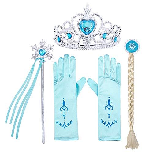 AmzBarley Accessori Costume Principessa Regina delle Nevi per Bambina Raggaza Vestito Festa Partito Cosplay Compleanno Carnevale Natale