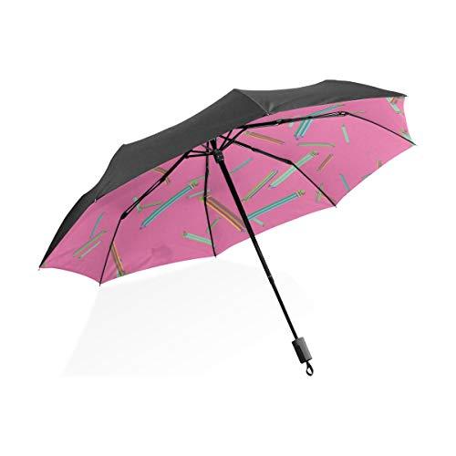 Großer Regenschirm Inverted Art Kreative Mode Kindliche Wachsmalstift Tragbare Kompakte Taschenschirm Anti Uv Schutz Winddicht Outdoor Reise Frauen Übergroßen Regenschirm