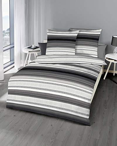 Kaeppel Edel - Seersucker Bettwäsche Profile Zinn 1 x 80x80 + 1 x 155x220 cm