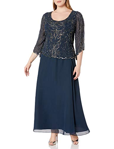 J Kara Women's Plus-Size Scoop-Neck Long Dress, Navy/Mercury, 20W