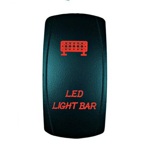 STVMotorsports Laser Red Rocker Switch LED Light BAR 20A 12V On/Off LED Light