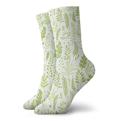 Kteubro Wild Herbs Branches Leaves Novedad Funny Crazy Crew Sock Cool Unisex Sport Athletic Calcetines 30 cm de largo personalizado regalo calcetines
